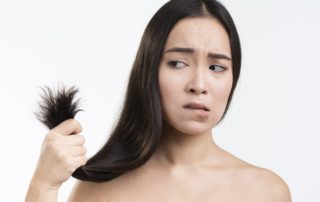 girl worried about hair